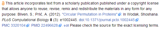 Attribution statement in a Wikipedia article to show that the text is sourced from an Open Access journal